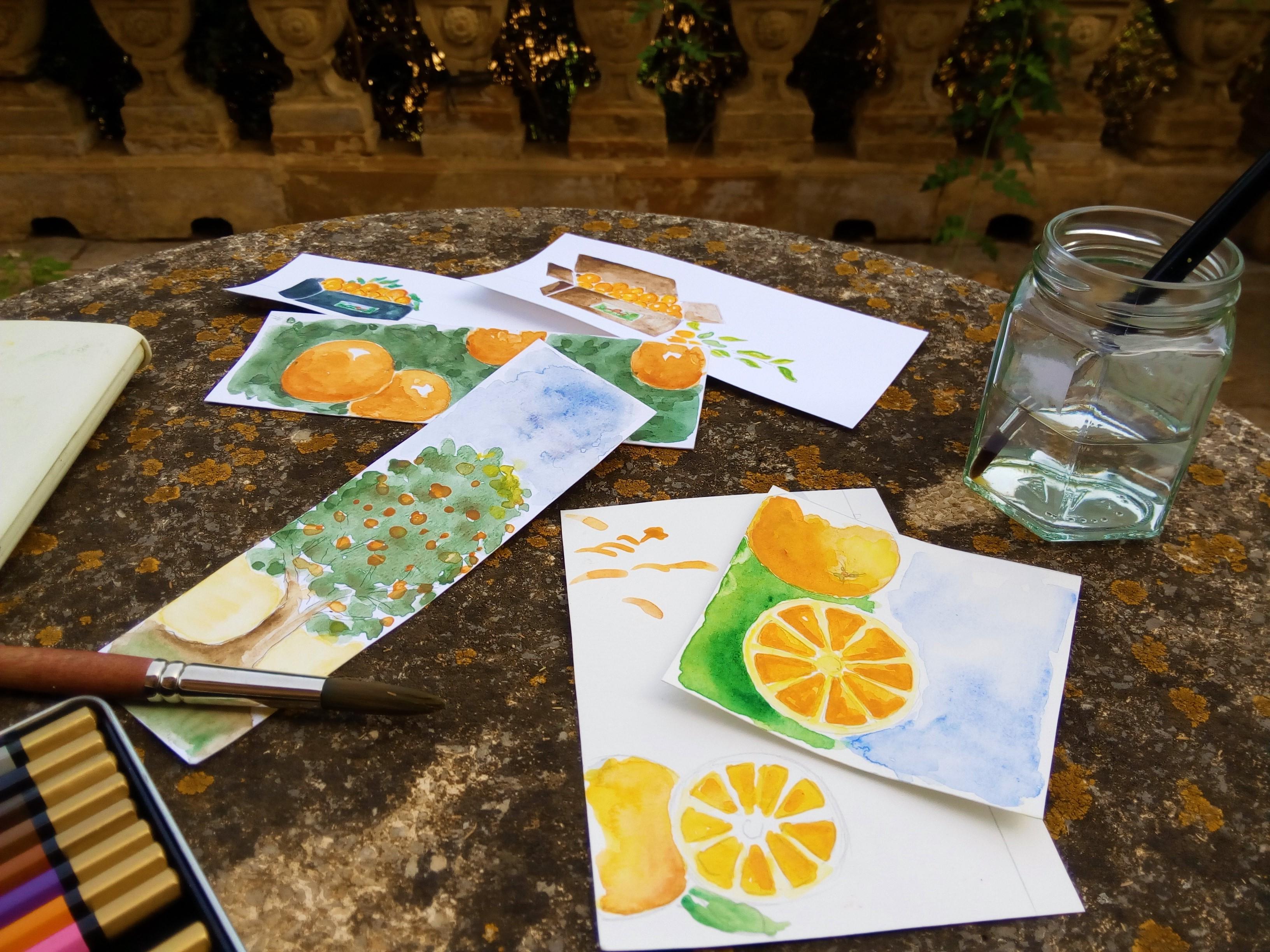 san eusebio naranjas acuarelas